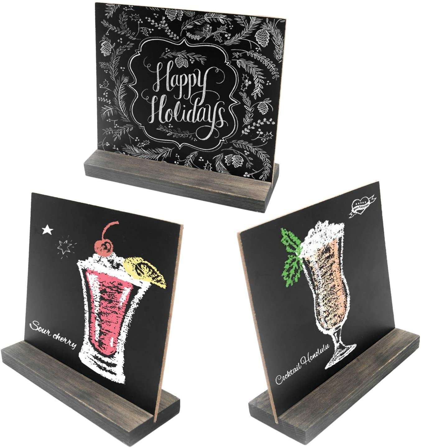 5 X 6 Inch Mini Tabletop Chalkboard Signs with Vintage Style Wood Base Stands, Set of 3