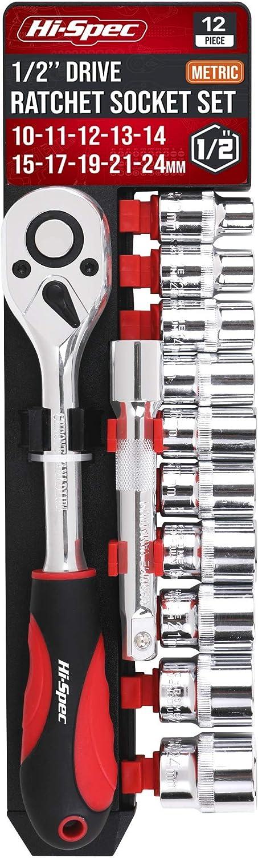 """Hi-Spec Jeu de Douill 10-24mm 12 pcs Coffret Douilles M/étriques 1//2/"""" avec Cl/é /à Cliquet de 72 Dents pour Changement Rapide Barre dExtension /à Douille de 125mm"""