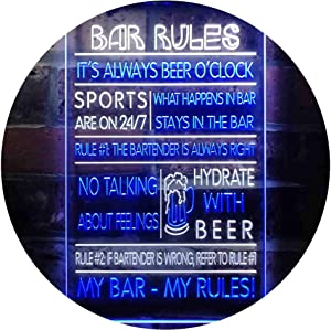 "ADVPRO My Bar My Rules Man Cave Home Bar Beer Décor Dual Color LED Neon Sign White & Blue 12"" x 16"" st6s34-i3414-wb"