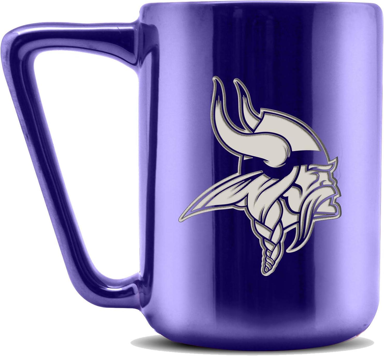 Duck House NFL Minnesota Vikings Ceramic Laser Engraved Coffee Mug 16oz Metallic Finish