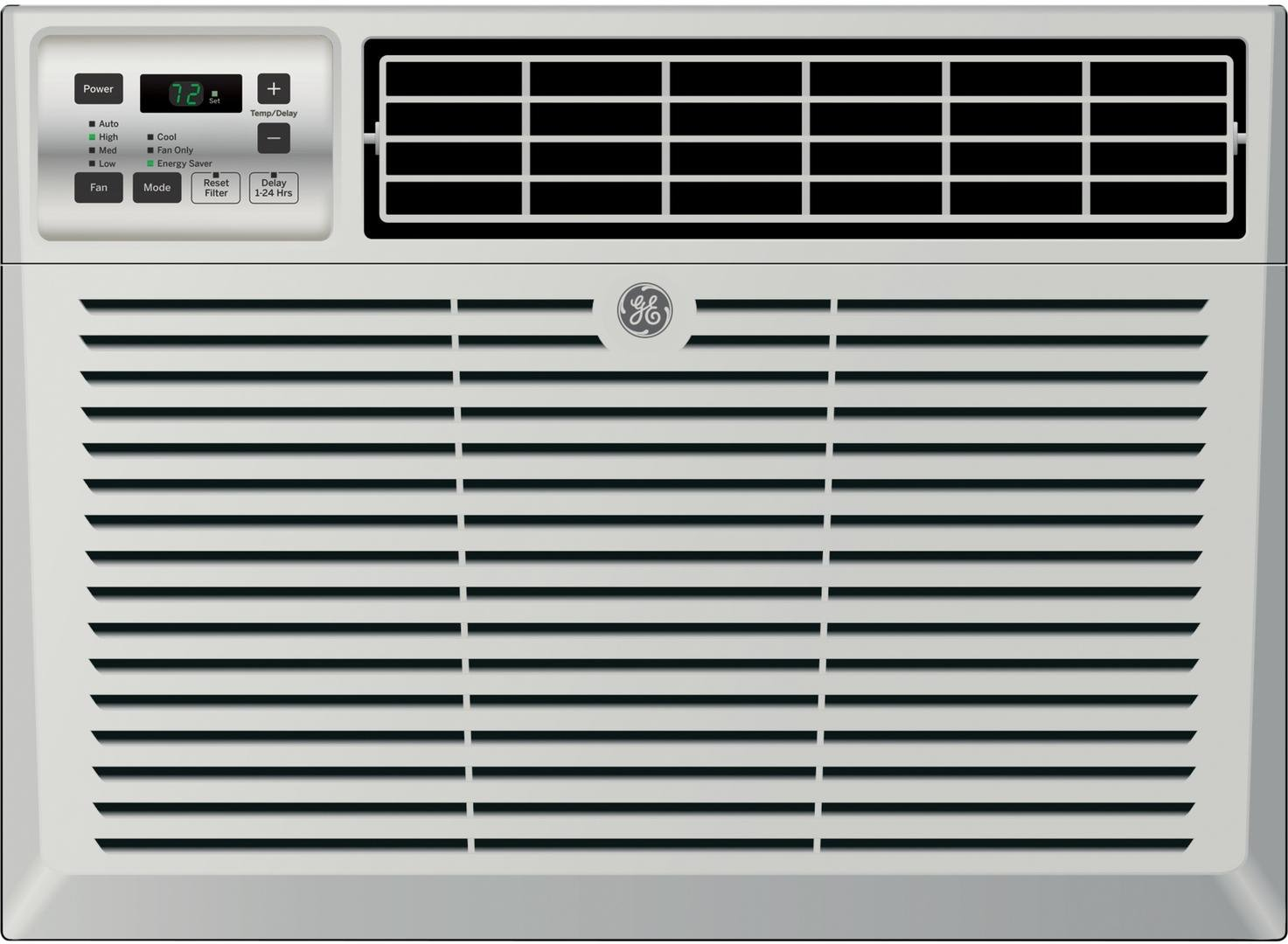 GE AEM08LX Fits Windows 24 to 38 W x 13-1 2 H MIN. Window Air Conditioner with 8000 Cooling BTU, Energy Star Qualified in Light Cool Gray