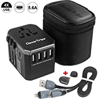 CleverTrips™ Universal Travel Power Adapter All in One Worldwide International Wall Charger AC Plug Adaptor with 5.6A Smart Power USB and 3.0A USB Type-C For USA EU UK AUS Phone Tablet Laptop