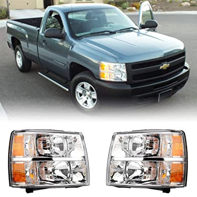 MAYASAF Headlight Assembly Chevrolet Silverado Pickup Headlamp Pair Fit 2008-2013 Chevy Silverado 1500/2500HD/3500HD, Chrome Housing W/Corner & Turn Signal Lamps (4 PCS): Automotive