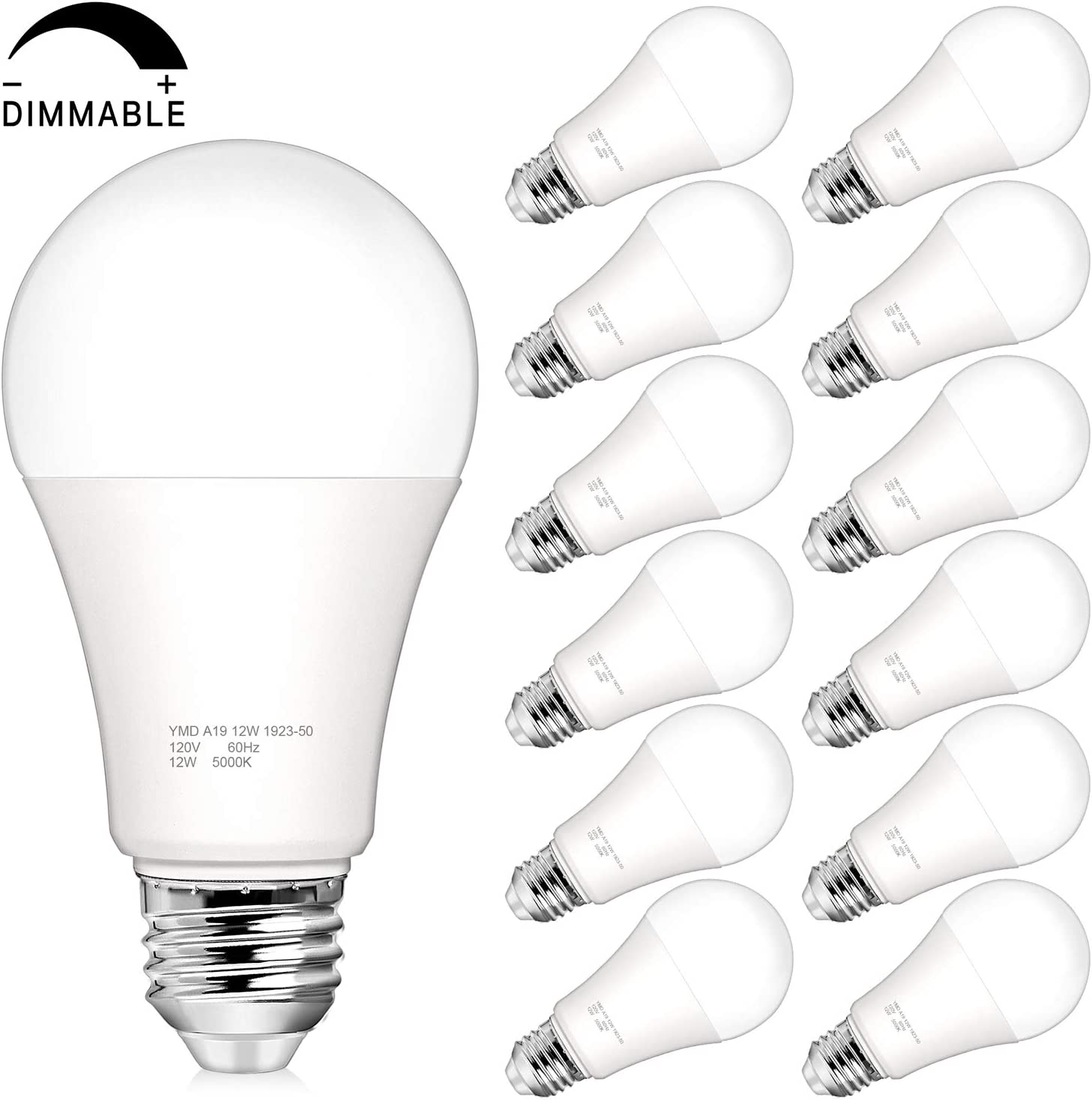 Pack of 12 No Flicker E26 Medium Screw Base CRI 85+ 5000K Daylight White 12W 100 Watt Equivalent LED Bulbs Dimmable A19 LED Light Bulbs 25000+ Hours Lifespan 1200 Lumens
