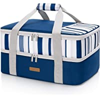 LUNCIA Double Decker Insulated Casserole Carrier for Hot or Cold Food, Lasagna Holder Tote for Potluck Parties/Picnic…