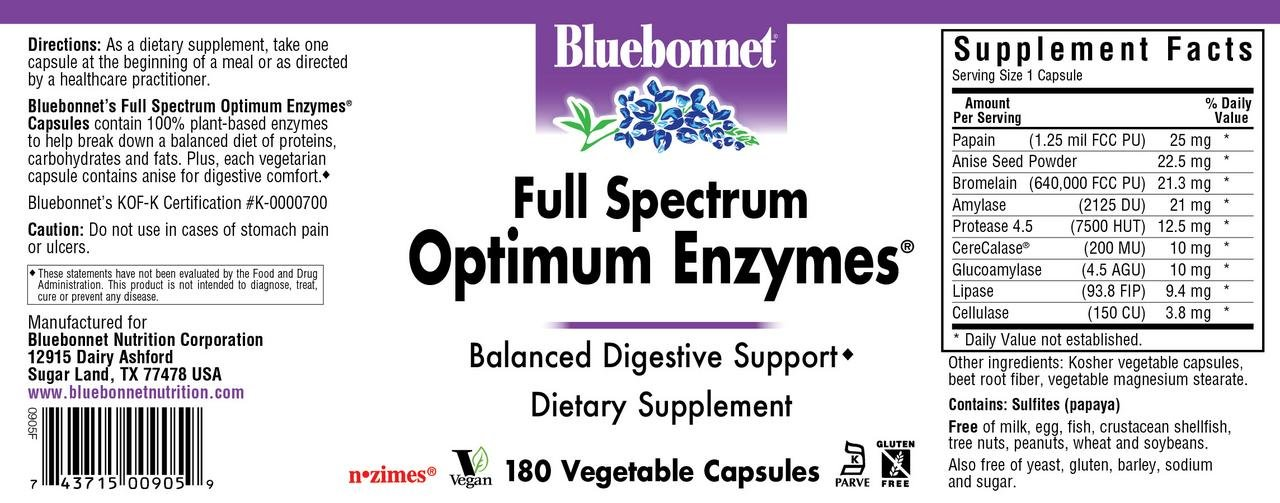 Amazon.com: Bluebonnet espectro completo Optimum enzimas ...