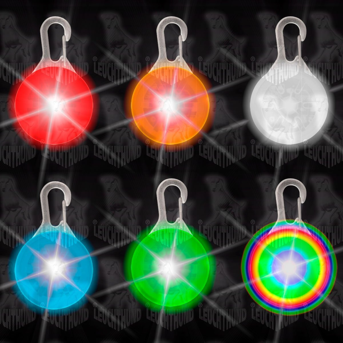 7 Stück Hunde Leuchtanhänger Leuchthalsband Led Hundehalsband LH6 ...