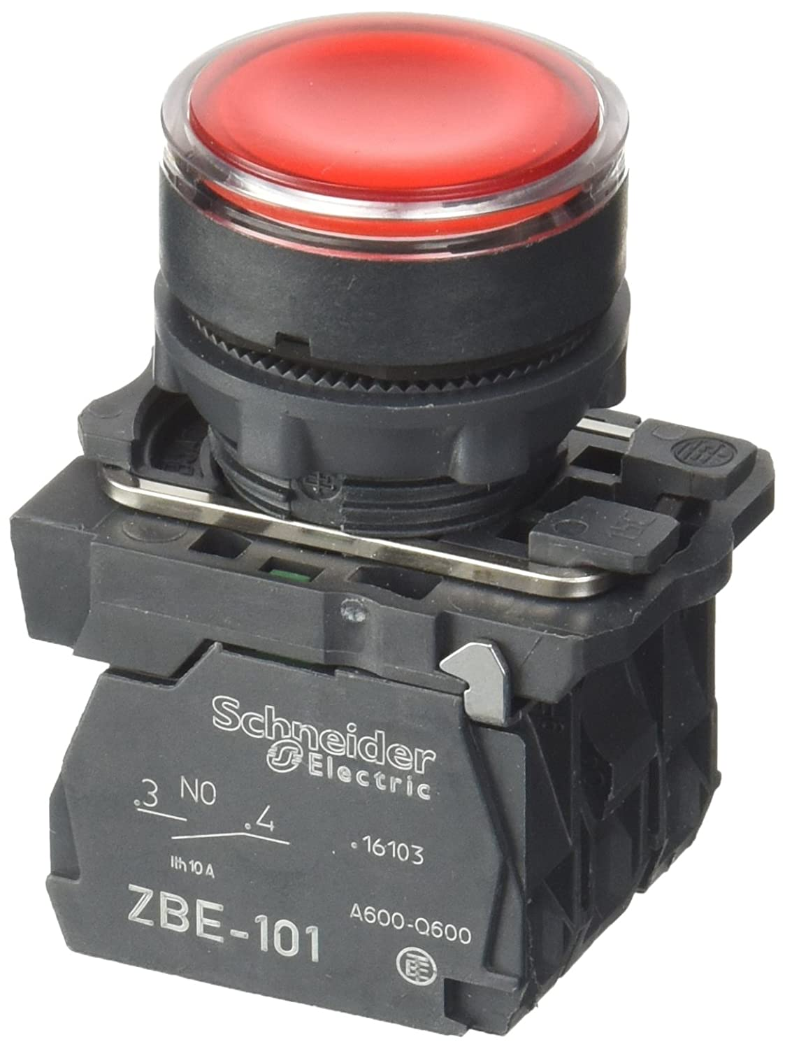 Schneider Electric XB5AW34B5 Harmony bouton-poussoir lumineux, impulsion, plastique collerette, 1O+1F, 22 mm diamè tre de fixation, 24V, rouge 22 mm diamètre de fixation