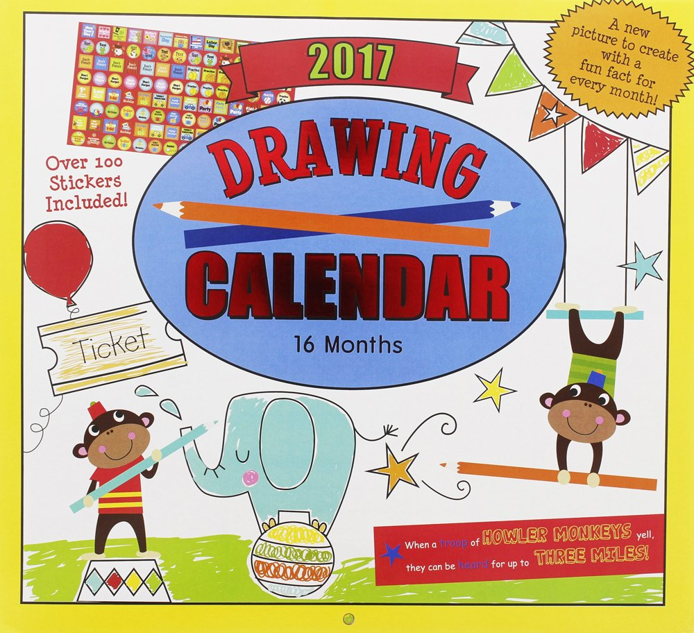 Kids Calendar With Activity Stickers : Amazon monthly wall calendar drawing kids children