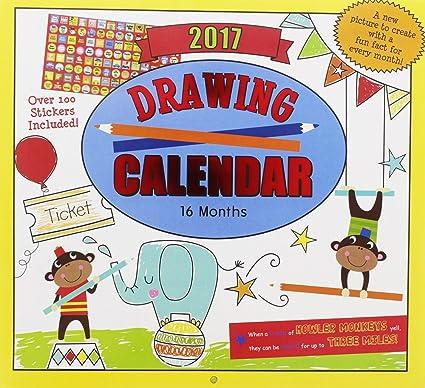 Amazon Com 2017 Monthly Wall Calendar Drawing Kids Children