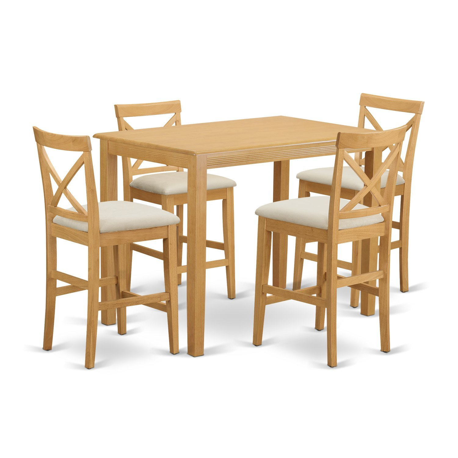 East West Furniture YAPB5-OAK-C 5 Piece High Top Table and 4 Chairs Set