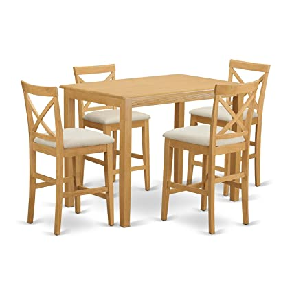 Amazon.com: East West Furniture YAPB5-OAK-C 5 Piece High Top Table ...