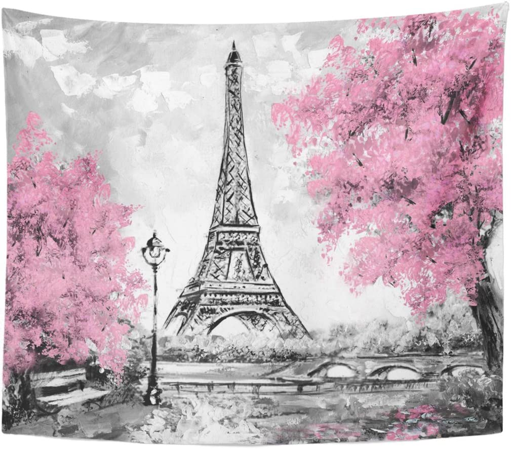 Emvency Tapestry Oil Painting Paris European City Landscape France Eiffel Tower Home Decor Wall Hanging for Living Room Bedroom Dorm 50x60 Inches