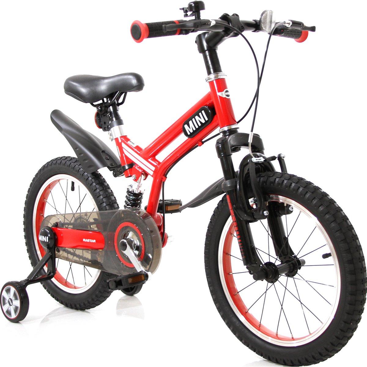 自転車 補助輪付き マウンテンバイク MINI ミニ KIDS BIKE 16インチ 練習用自転車 MTB 足けり自転車 B07D8KCYQZ レッド レッド