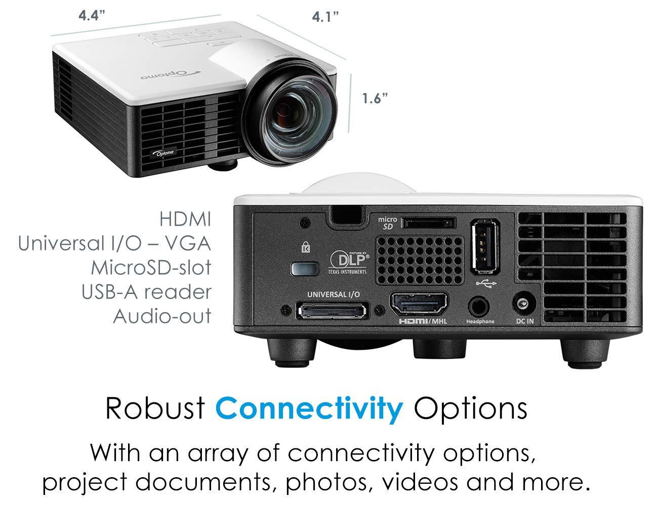 Optoma ML750 WXGA 700 Lumen 3D Ready Portable DLP LED Projector ...