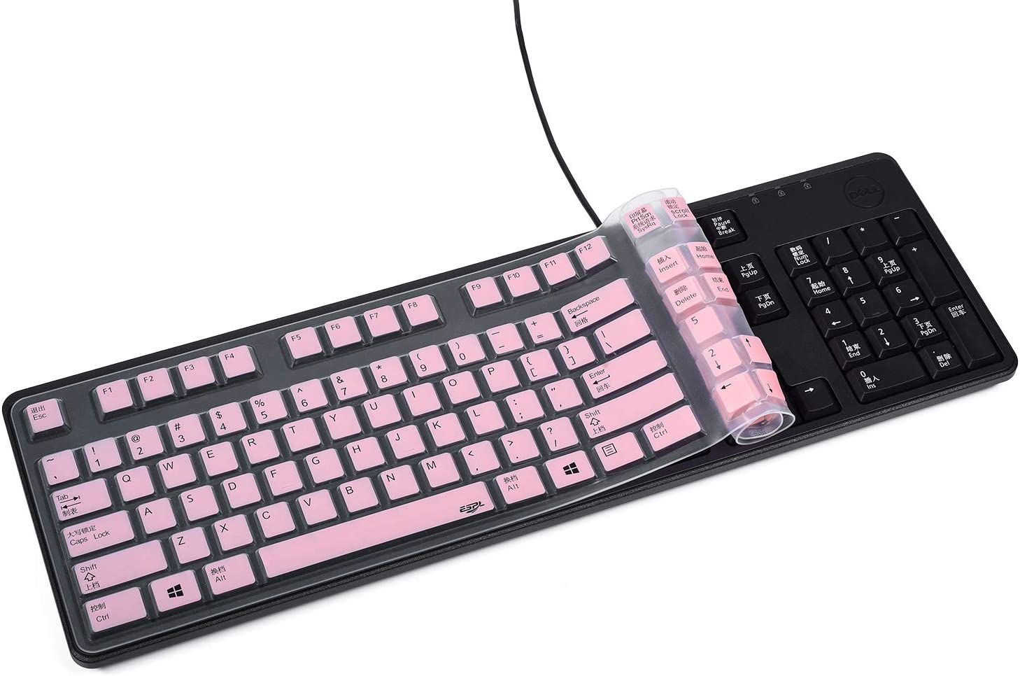 Black Anti Dust Waterproof Silicone Keyboard Protector Skin Cover for Dell Keyboard KB212-B KB4021 US Version