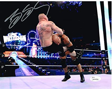 Wwe Wwf Wcw Bill Goldberg Vs Lesnar Autographed 8x10 Photo