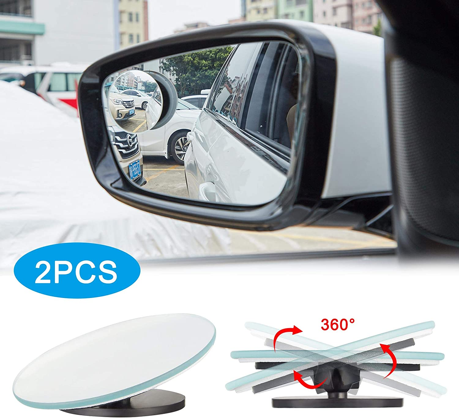 TOMALL 2Pcs Blind Spot Mirrors HD Glass Wide Angle Convex Rear View Mirror Blind Spot for Cars 360/° Adjustable Stick on Side Mirror Universal Exterior Blind Spot Mirrors Accessories