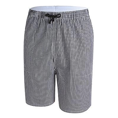Short de bain homme bermuda en coton motif à carreau