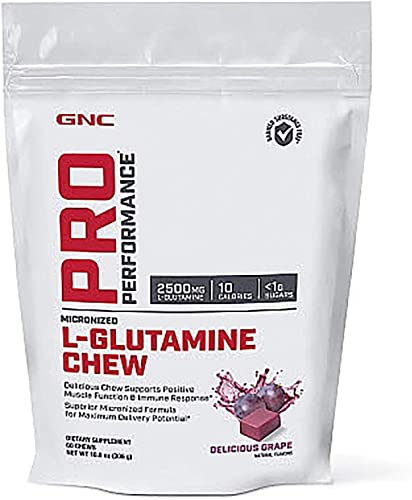 GNC Pro Performance L-Glutamine Chew – Delicious Grape, 60 Chews, Supports Positive Muscle Function and Immune Response