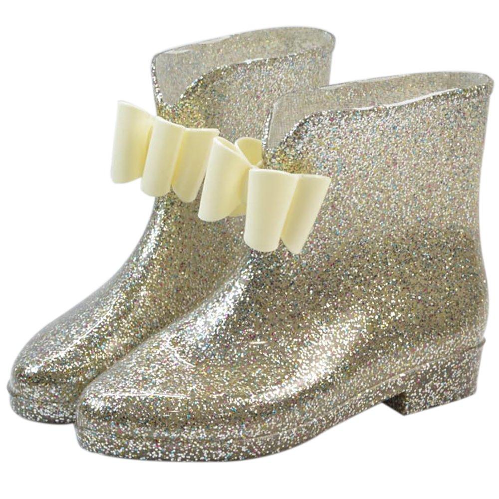 Women's Waterproof Rubber Jelly Anti-Slip Rain Boot Buckle Ankle High Rain Shoes B01J7EZ3Q0 6 B(M) US|Golden Bowknot