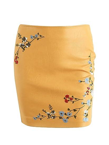 Simplee Apparel Women s Autumn bordado floral mini falda de cuero ...