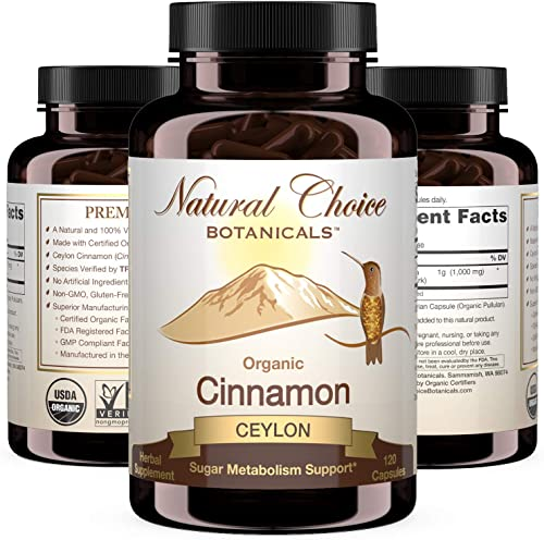 Certified Organic Ceylon Cinnamon, 1000 mg per Serving 500 mg per Capsule , Supplement - 120 Capsules, 2 Month Supply