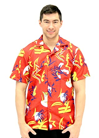 2bdef1f6186a Amazon.com: Scarface Tony Montana Hawaiian Adult Costume Button Up Shirt:  Clothing