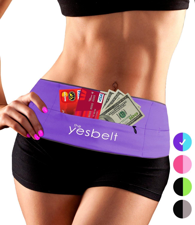 YesBelt 1 Reversible Running Belt and Waist Pack w Zipper – Better Than Cell Phone Sports Armband – iPhone 6 Plus – Best Travel Money Belt – Stylish Fitness Zip n Flip Band for Workout