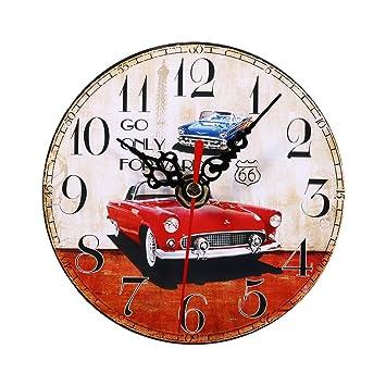 Relojes de Pared de Madera, 7 tipos de estilo Vintage relojes de pared de madera redonda oficina en casa decoración del dormitorio(#2): Amazon.es: Hogar