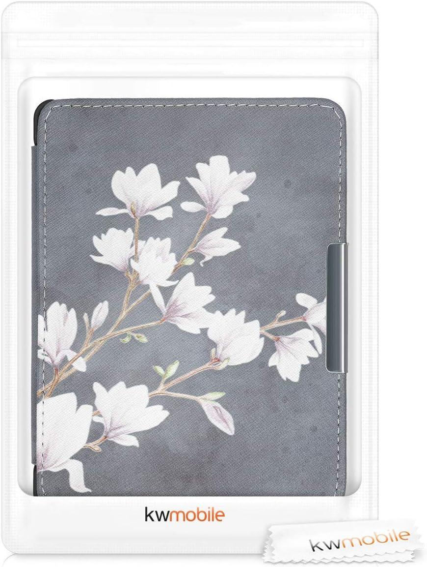 Magnolias Taupe-Blanc-Gris fonc/é kwmobile /Étui liseuse Compatible avec Kobo Glo HD//Touch 2.0 Housse avec Rabat magn/étique en Simili Cuir