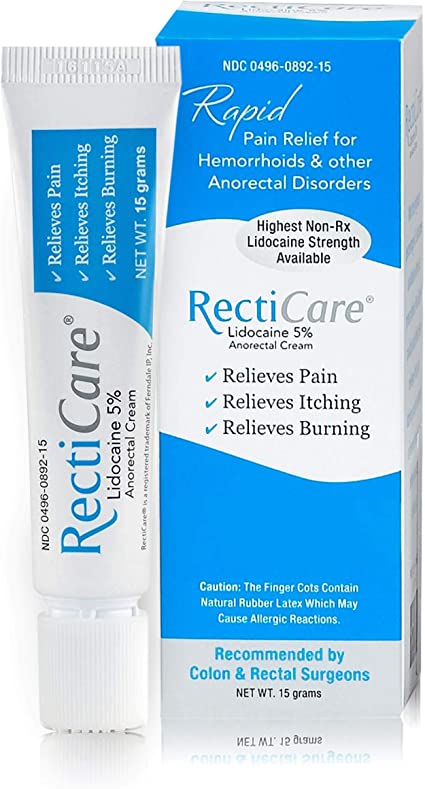 Amazon.com: RectiCare Anorectal Lidocaine 5% Cream: Treatment for  Hemorrhoids & Other Anorectal Disorders - 15g Tube: Health & Personal Care