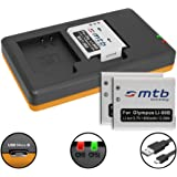 3 Baterías + Cargador doble (USB) para LI-90B Li-92B / Olympus Tough TG-1, TG-2, TG-3, TG-4 / Actioncam TG Tracker / SH-… ver lista - (contiene cable micro USB)