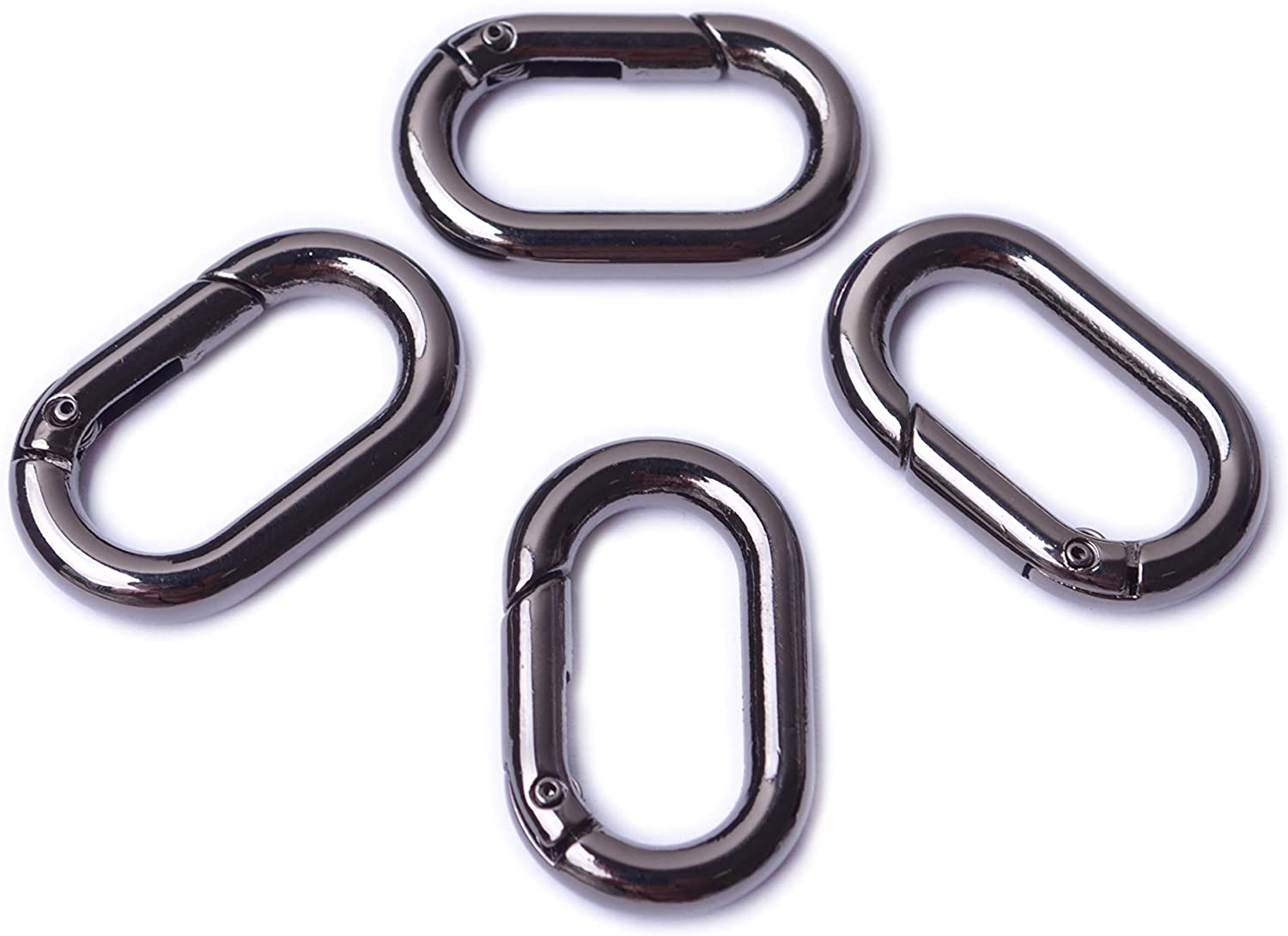 Bobeey 4pcs Carabiner Metal Spring Key Ring,Spring Snap Hooks Clip,Spring Keyring Buckle,Oval Ring for Bags,Purses BBC39 Silver