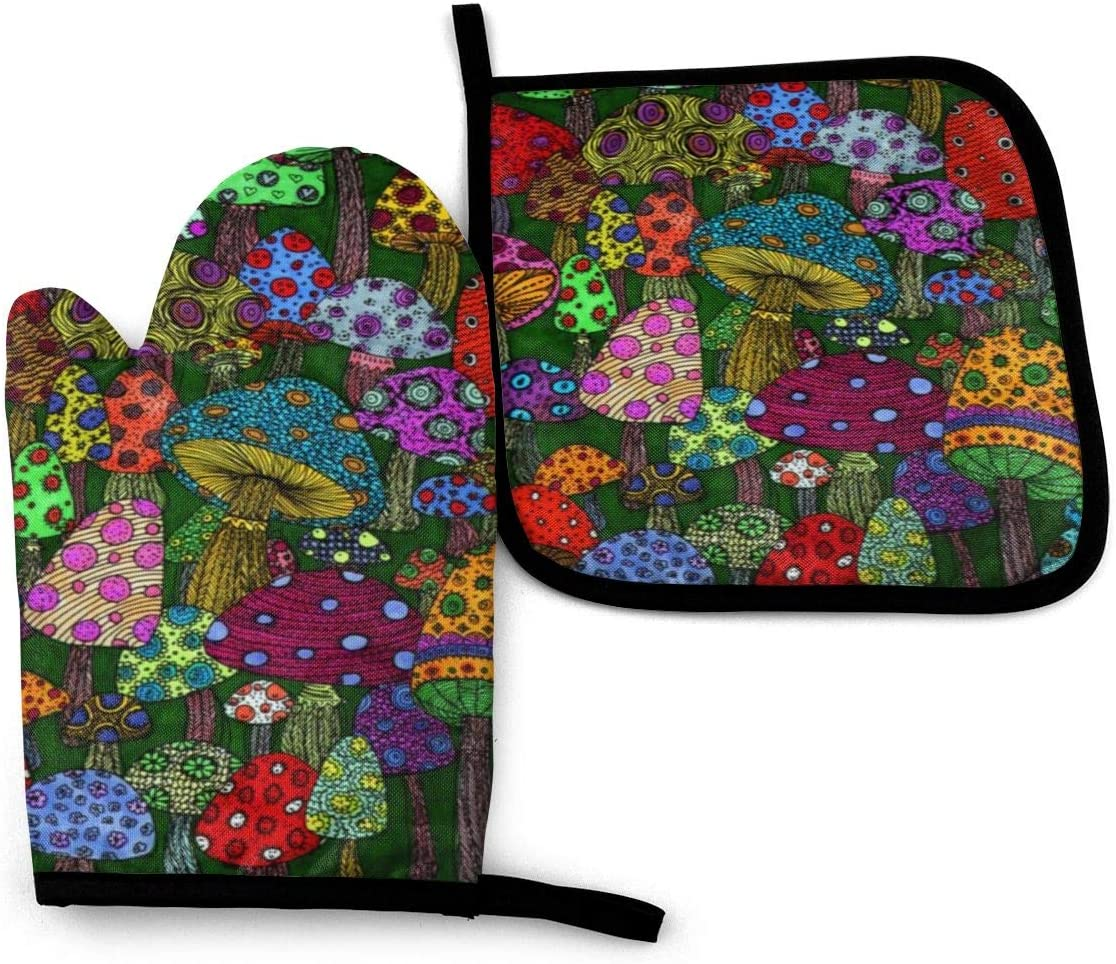 Forest Mushroom Art Paintings Oven Mitts and Potholders, Professional Heat Resistant Water-Proof Pot Holder & Baking Gloves, (2-Piece Set)
