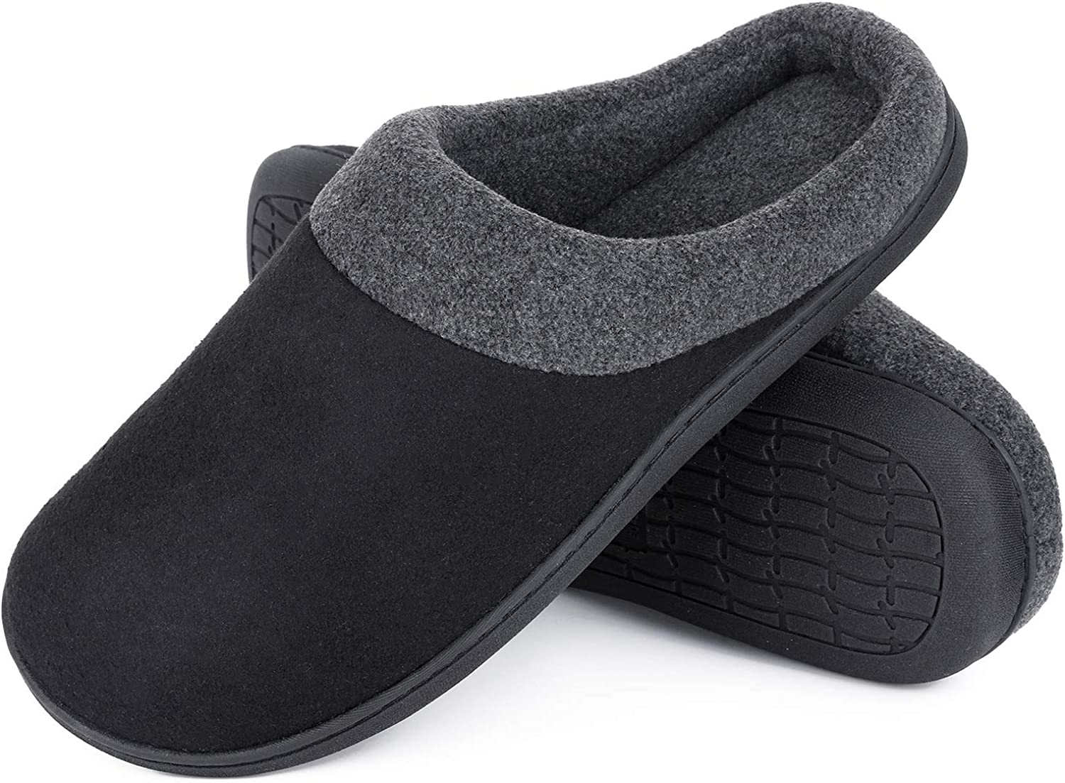 Spring Summer Breathable Indoor Shoes HomeIdeas Mens Woolen Fabric Memory Foam Anti-Slip House Slippers