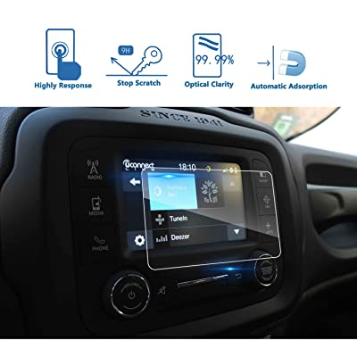 LFOTPP 2015-2020 Jeep Renegade Uconnect 5 Inch Car Navigation Screen Protector, [9H] Tempered Glass Infotainment Center Touch Screen Protector Anti Scratch High Clarity