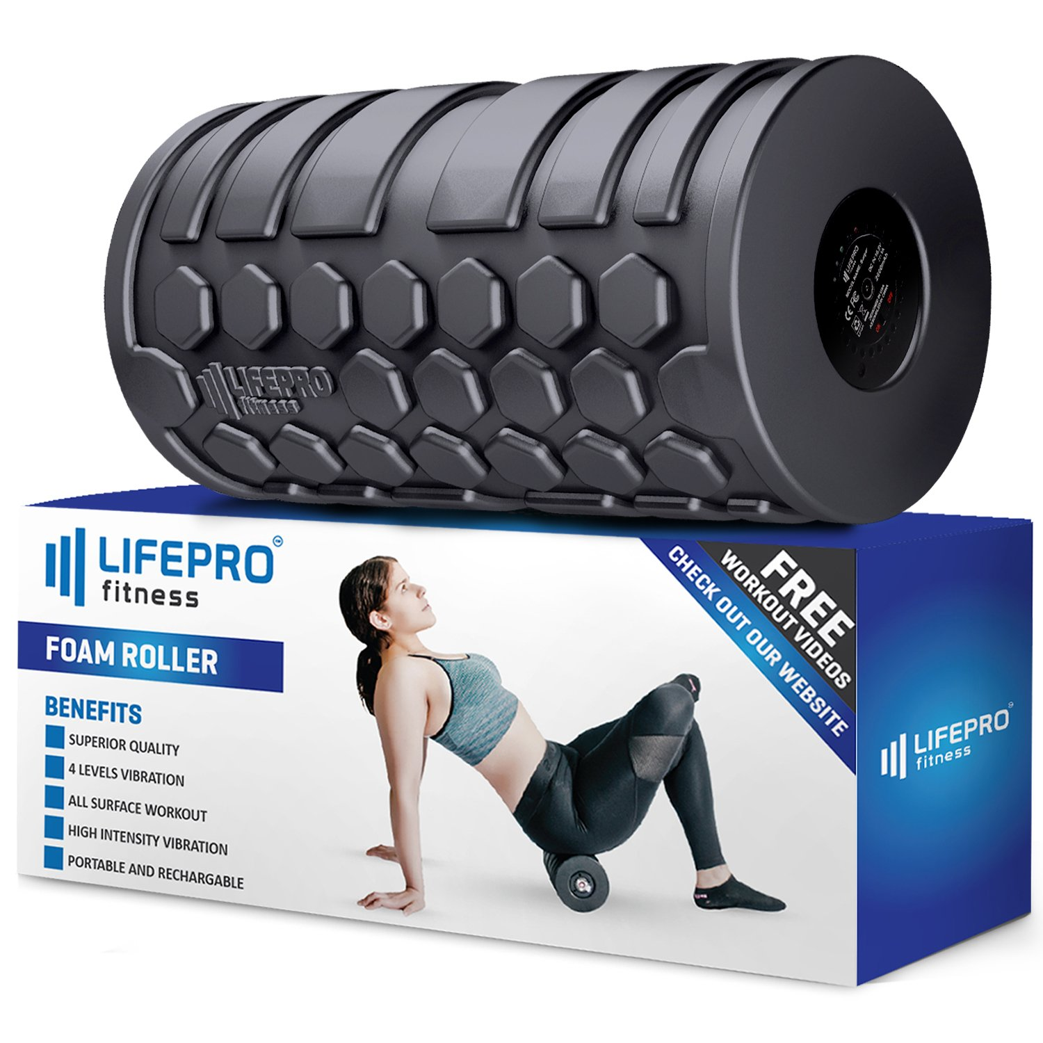 LifePro 4 Speed Vibrating Foam Roller - High Intensity Electric Vibration Massager with Bonus Manual Ebook & Videos for Deep Tissue Trigger Point Therapy, Sports Recovery, Mobility & Fitness Training