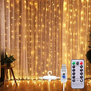 SUNNEST Window Curtain String Light 300 LED 8 Lighting Modes Fairy Lights Remote Control USB Powered Waterproof Lights for Christmas Bedroom Party Wedding Home Garden Wall Decorations,(Warm White)