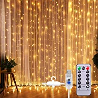 SUNNEST Window Curtain String Light 300 LED 8 Lighting Modes Fairy Lights Remote Control USB Powered Waterproof Lights…