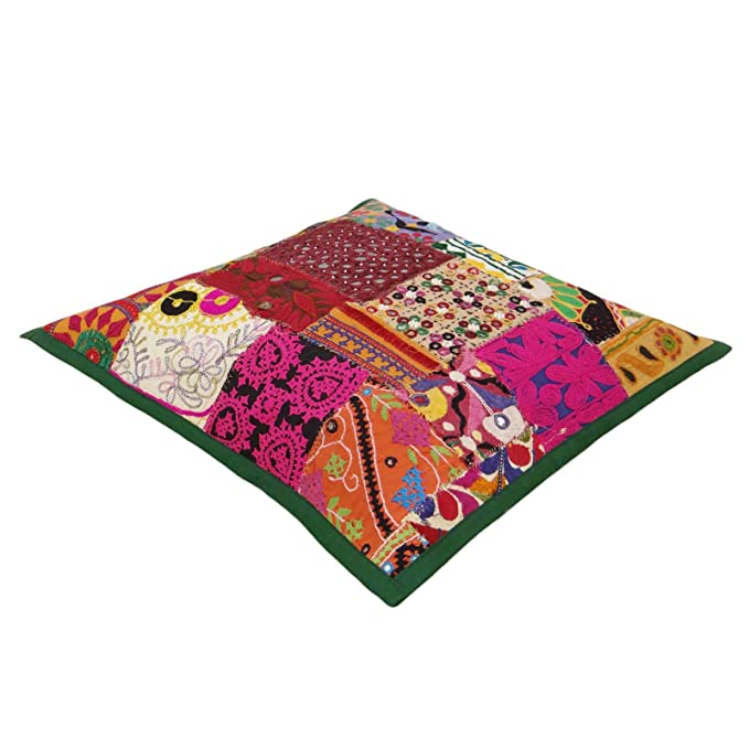 Amazon.com: ibaexports Indian Cushion Patchwork Multicolour ...