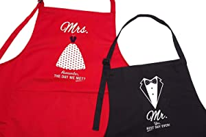 Mr Mrs Anniversary Gifts for Couples - Bride and Groom 2 Piece Set - Perfect for Xmas, Weddings, Happy Anniversaries, Bridal Showers, Valentines Day