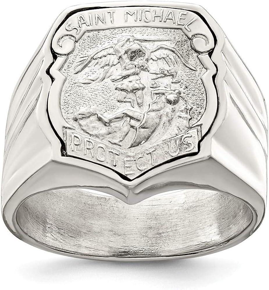 Diamond2deal Or Blanc Massif 14/K sur Bague Homme Saint Michel Taille 10