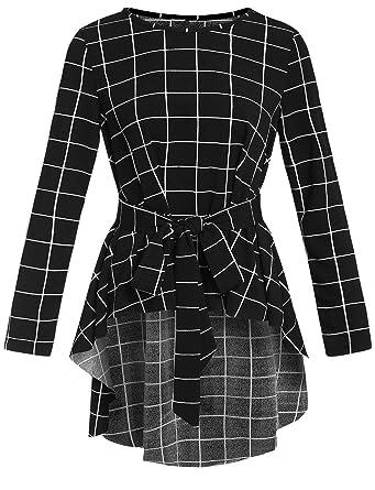 03b48741ab7 Romwe Women s Raw Hem Long Sleeve Belted Flare Peplum Blouse Shirts Top  Black XS