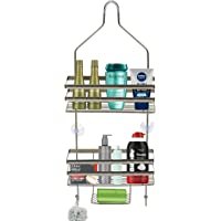 Voroly Metal Wire Hanging Bathroom Self Shower Caddy Extra Wide Space for Shampoo Conditioner and Soap with Hooks for Towel Organizer (3 Tire)
