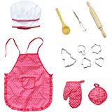 SelfTek 12 Pack Kids Cooking Career Role Play Set,Chef Set for Children Pretend Cooking Play Set with Girls Apron, Chef's Hat, Cooking Mitt and Little Cookie Cutters