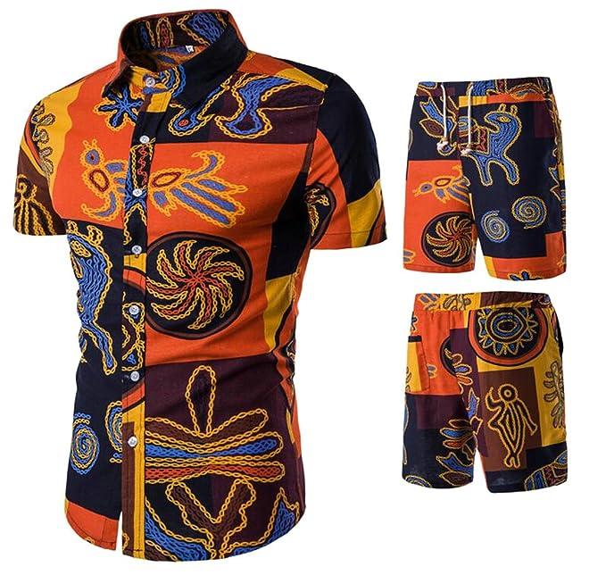 b73fe7413015 ARTFFEL-Men Summer African Print Linen Short Sleeve Shirt Shorts Beach 2  Pcs Outfits 1