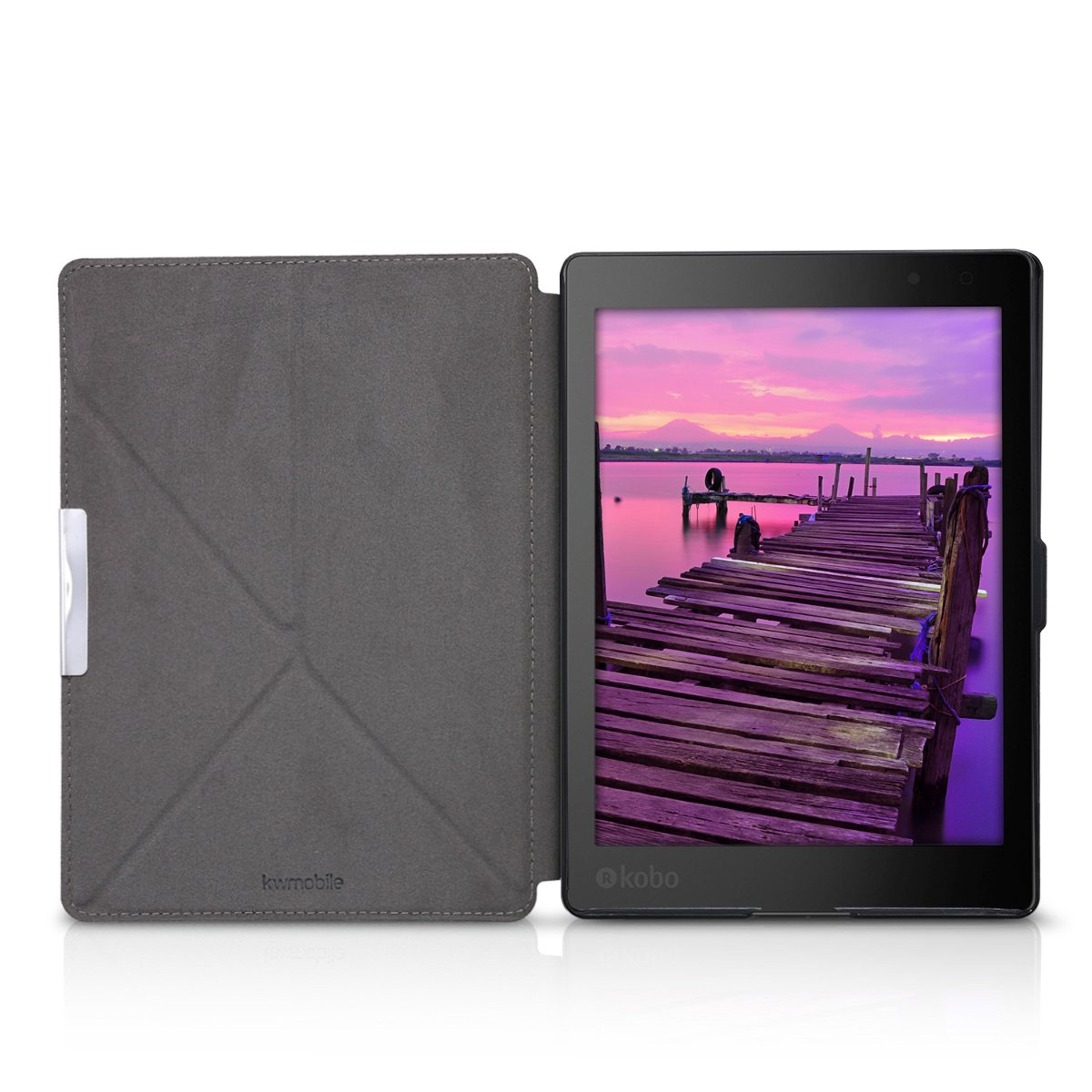 kwmobile Cover case for Kobo Aura ONE with stand - Ultra slim case made of synthetic leather Elephant Sketch in dark pink anthracite by kwmobile (Image #5)