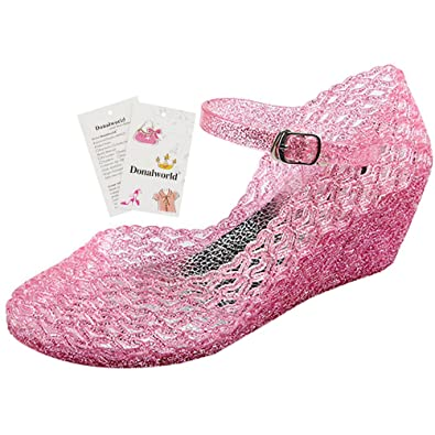 68d43b3efa4b93 Donalworld Women Round Toe Jelly Glitter Wedge Webbed Plastic Rain Sandals  Pink Asian Size 36