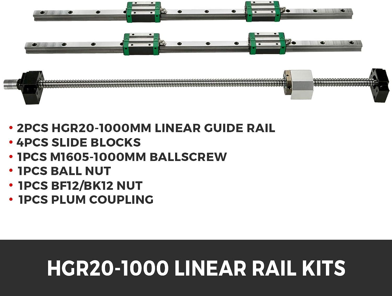 VEVOR Miniature Rail Lin/éaire Guide 20-1500mm Rails Lin/éaires CNC Rail lin/éaire +4x Bloc de roulement de chariot pour le routeur//Rectifieuse//limpression de machines industrielles//la table X-Y